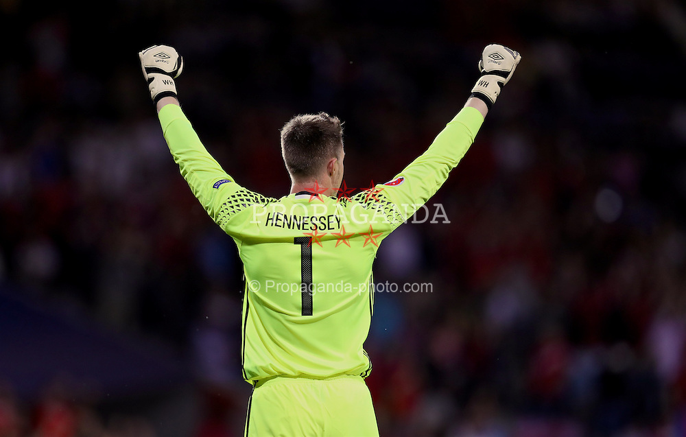 TOULOUSE, FRANCE - Monday, June 20, 2016: Wales goalkeeper Wayne Hennessey celebrates his side's 3-0 victory over Russia and qualification for the knock-out stage during the final Group B UEFA Euro 2016 Championship match at Stadium de Toulouse. (Pic by David Rawcliffe/Propaganda)