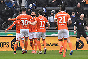 Goal - Gary Madine (30) of Blackpool celebrates scores a goal to give a 0-1 during the EFL Sky Bet League 1 match between Bristol Rovers and Blackpool at the Memorial Stadium, Bristol, England on 15 February 2020.