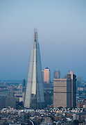 Twilight image of the Shard building in London, England.
