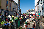 Rennes, FRANCE. General Views GV's. Rennes weekly regional market. Brittany,<br /> Vegetable's, Fruit, Flowers, Fish, Game, Meat, Cheese, local wine and cider, sold from stalls in the open and covered market  <br /> <br /> 08:50:20  Saturday  26/04/2014 <br /> <br />  [Mandatory Credit: Peter Spurrier/Intersport<br /> Images]