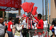 ANAHEIM, CA - APRIL 26:  A vendor hawks his wares at the Los Angeles Angels of Anaheim the game against the Seattle Mariners at Angel Stadium on Sunday, April 26, 2009 in Anaheim, California.  The Angels shut out the Mariners 8-0.  (Photo by Paul Spinelli/MLB Photos via Getty Images)