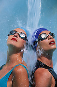 Two women underneath falling water, Marbella, Spain, 97. Model Released. Photo: Chris Cole/Action Plus<br /> <br /> <br /> 1997 release<br /> leisure activities<br /> pastime<br /> pastimes<br /> swimming<br /> swim<br /> swimmer<br /> swimmers<br /> exercise<br /> exercising<br /> water sport<br /> water sports<br /> watersport<br /> watersports<br /> splash