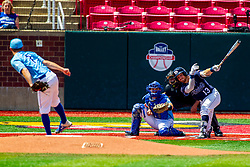 25 May 2019:  Max Wright catches, Zach Frey pitches, Jimmy Glowenke bats and Bill McGuire makes the calls.  Missouri Valley Conference Baseball Tournament - Dallas Baptist Patriots v Indiana State Sycamores at Duffy Bass Field in Normal IL<br /> <br /> #MVCSPORTS
