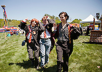 The Marauders Remus Lupin - Jean Hayes, James Potter - Hillaree Hayes and Siruis Black - Haylee Hayes join in on the festivities on the front lawn during Misti-Con 2015 at the Margate Resort Saturday afternoon.  (Karen Bobotas/for the Laconia Daily Sun)