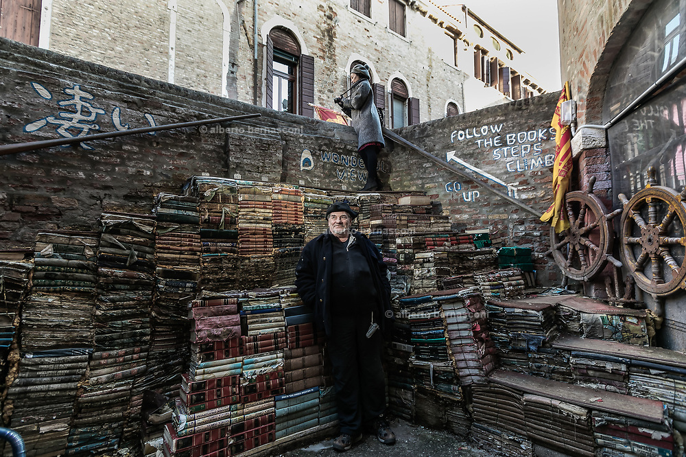Venice, World famous Libreria Acqua Alta, voted by the Guardia as second most beautiful bookstore in the  world, Luigi Frizzo, the owner