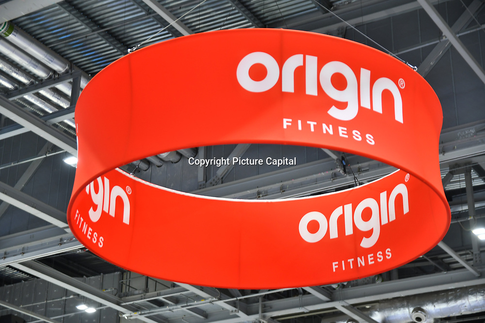 Origin Fitness weight lifting equipment, sandbags exhibition at Elevate 2019 on 8 May 2019, at Excel London, UK.