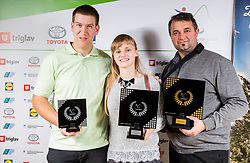 Showdown team: Peter Zidar, Sanja Kos and coach Gregor Habjan during Slovenian Disabled Sports personality of the year 2017 event, on December 6, 2017 in Austria Trend Hotel, Ljubljana, Slovenia. Photo by Vid Ponikvar / Sportida
