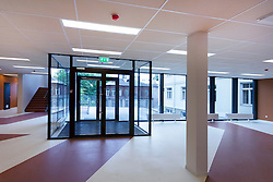 H. Eller music school, college in Tartu, Estonia. Empty corridor, larg windows. Entrance door.
