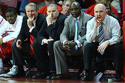 04 February 2012:  Bradley Braves coaches Greg Graham, Jaden Uken, Willie Scott and Geno Ford during an NCAA Missouri Valley Conference mens basketball game where the Bradley Braves lost to the Illinois State Redbirds 78 - 48 in Redbird Arena, Normal IL