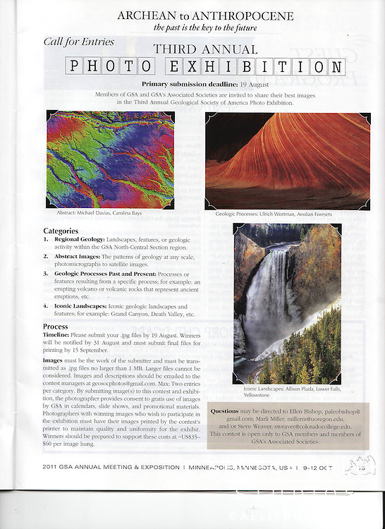 I had my image of Lower Falls featured in the Geological Society of America's calendar as well as exhibited at the 2011 GSA Annual Meeting in Denver, Colorado