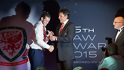 CARDIFF, WALES - Monday, October 5, 2015: Wales' Gareth Bale receive the Players' Player of the Year Award from manager Chris Coleman during the FAW Awards Dinner at Cardiff City Hall. (Pic by Ian Cook/Propaganda)