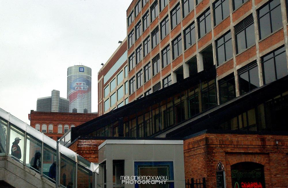 A Super Bowl XL logo decorates General Motors headquarters in downtown Detroit, Michigan in February 2006. Melanie Maxwell