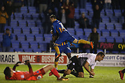 Goal for 14 Lenell John-Lewis for Shrewsbury Town during the EFL Sky Bet League 1 match between Shrewsbury Town and Peterborough United at Greenhous Meadow, Shrewsbury, England on 24 April 2018. Picture by Graham Holt.