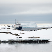 Cruise ship anchored off Vernadsky Research Base in Antarctica.