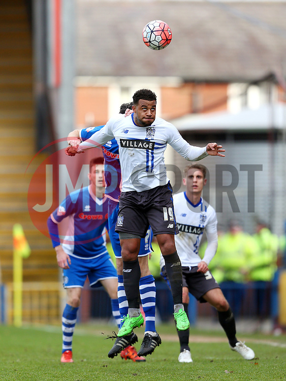 Tom Soares of Bury wins a header - Mandatory byline: Matt McNulty/JMP - 06/12/2015 - Football - Spotland Stadium - Rochdale, England - Rochdale v Bury - FA Cup