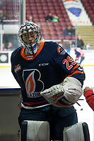 KELOWNA, BC - DECEMBER 27: Rayce Ramsay #29 of the Kamloops Blazers exits the ice after warm up against the Kelowna Rockets  at Prospera Place on December 27, 2019 in Kelowna, Canada. (Photo by Marissa Baecker/Shoot the Breeze)