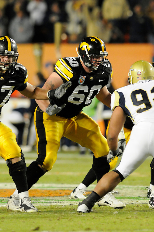 January 5, 2010: Kyle Calloway of the Iowa Hawkeyes in action during the NCAA football game between the Georgia Tech Yellow Jackets and the Iowa Hawkeyes in the FedEx Orange Bowl at LandShark Stadium in Miami Gardens, Florida. The Hawkeyes defeated the Yellow Jackets 24-14.