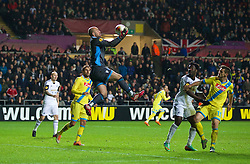 SWANSEA, WALES - Thursday, February 20, 2014: SSC Napoli's goalkeeper Pepe Reina in action against Swansea City during the UEFA Europa League Round of 32 1st Leg match at the Liberty Stadium. (Pic by David Rawcliffe/Propaganda)