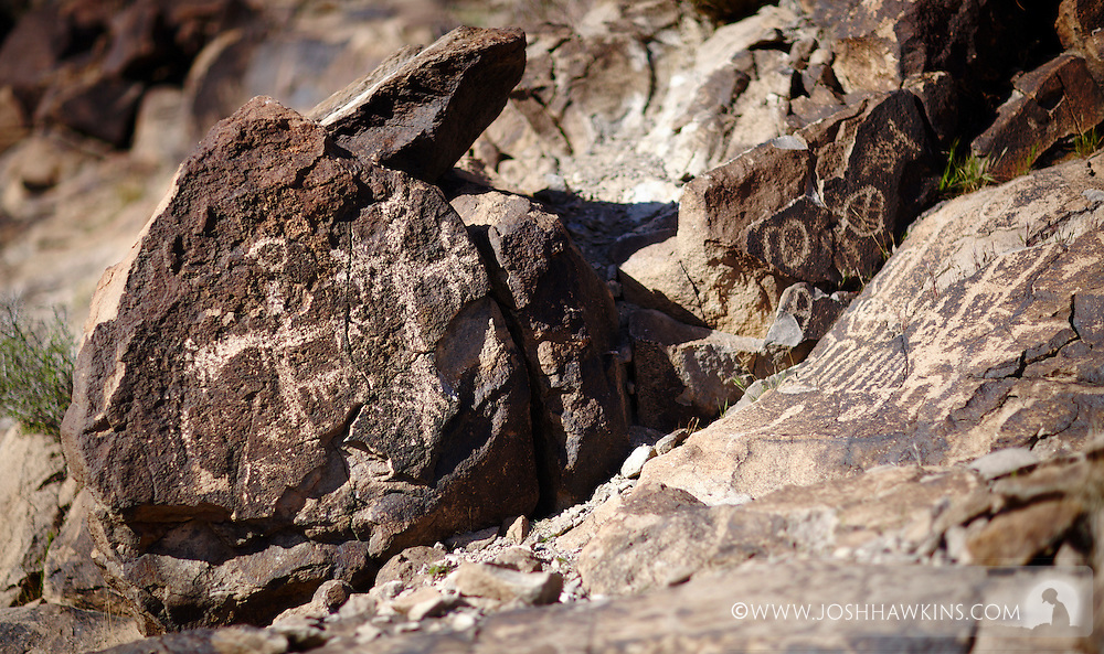 Petroglyphs in Sloan Canyon in the Sloan Canyon National Conservation Area which is part of the North McCullough Wilderness area outside Las Vegas, NV