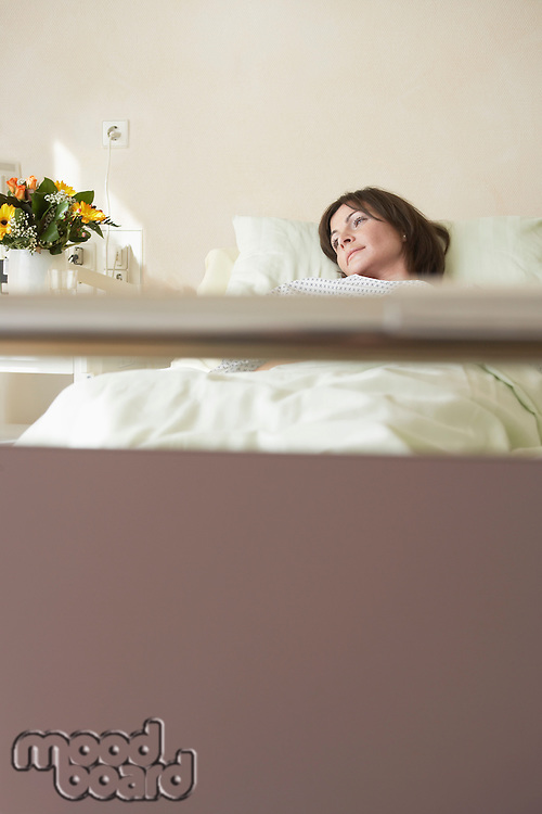 Patient Resting in Hospital Bed view from end of bed