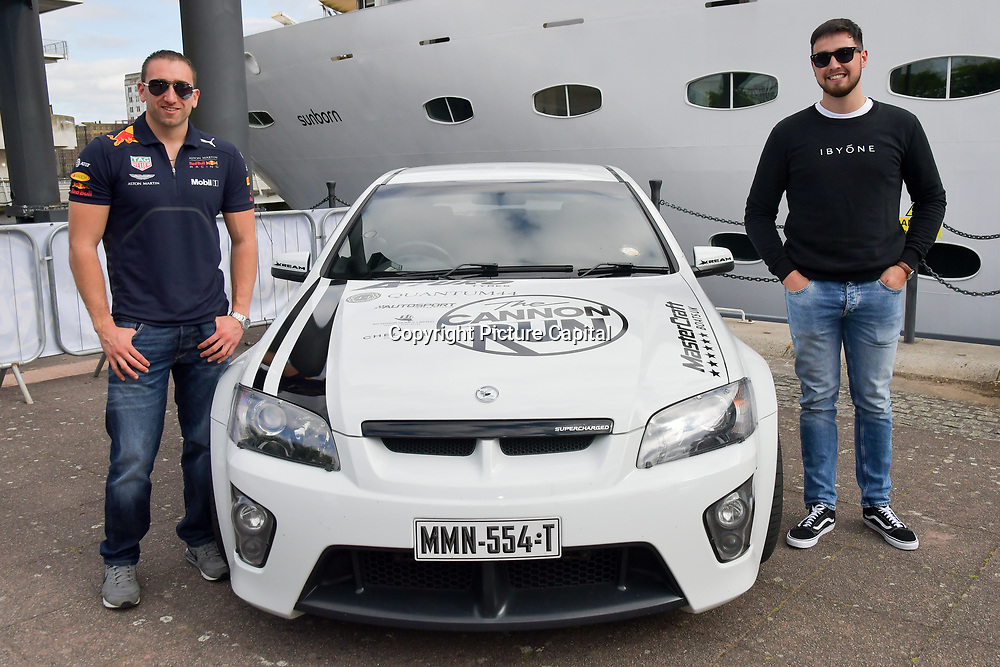Nick Mccudden and Michael Hodgson is a drivers of the Cannon Run at the Driving holiday experience hosts yacht party at The Sunborn Yacht, Royal Victoria Dock on 31 May 2019, London, UK.