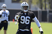 May 3, 2019; Alameda, CA, USA; Oakland Raiders defensive end Clelin Ferrell (96) during rookie minicamp at the Raiders practice facility.