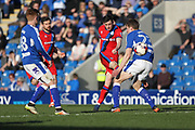 Ian Henderson shoots during the EFL Sky Bet League 1 match between Chesterfield and Rochdale at the b2net stadium, Chesterfield, England on 25 March 2017. Photo by Daniel Youngs.