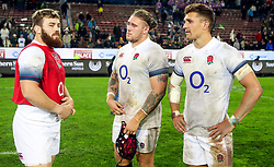 Luke Cowan-Dickie with Harry Williams and Henry Slade of England- Mandatory by-line: Steve Haag/JMP - 23/06/2018 - RUGBY - DHL Newlands Stadium - Cape Town, South Africa - South Africa v England 3rd Test Match, South Africa Tour