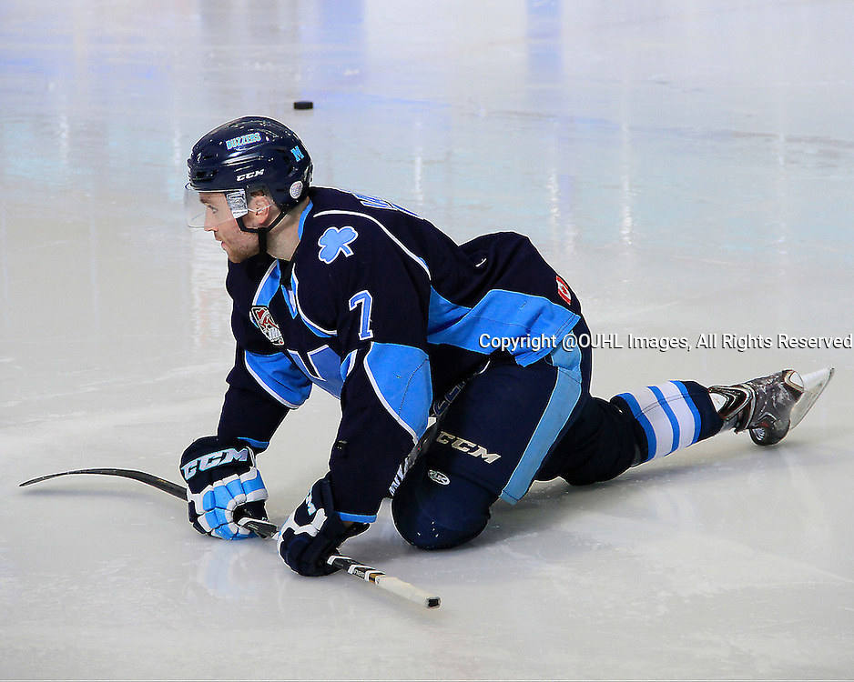 TORONTO, ON - Sep 19, 2014 : Ontario Junior Hockey League game action between Newmarket and St. Michaels, Nick Iafrate #7 of the St.Michael's Buzzers Hockey Club during the pregame warm-up<br /> (Photo by Mike Ivall / OJHL Images)