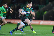 Northampton Saints centre Fraser Dingwall (22) runs with the ball during the Gallagher Premiership Rugby match between Northampton Saints and Harlequins at Franklins Gardens, Northampton, United Kingdom on 1 November 2019.