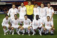 Fotball<br /> VM-kvalifisering<br /> Andorra v Nederland<br /> 17. november 2004<br /> Foto: Digitalsport<br /> NORWAY ONLY<br /> Lagbilde Nederland<br /> achter : robben , van nistelrooij , van der sar , cocu , kuyt en ooijer . voor : van bronckhorst , landzaat , sneijder , melchiot en van galen