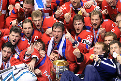 Russian celebrating (Ovechkin in the middle) at  ice-hockey game Canada vs Russia at finals of IIHF WC 2008 in Quebec City,  on May 18, 2008, in Colisee Pepsi, Quebec City, Quebec, Canada. Win of Russia 5:4. (Photo by Vid Ponikvar / Sportal Images)