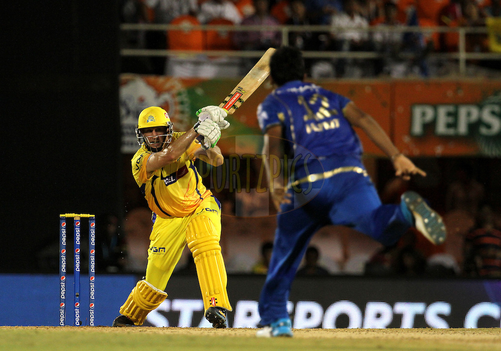 David Hussey of The Chennai Superkings plays a shot during the eliminator match of the Pepsi Indian Premier League Season 2014 between the Chennai Superkings and the Mumbai Indians held at the Brabourne Stadium, Mumbai, India on the 28th May  2014<br /> <br /> Photo by Vipin Pawar / IPL / SPORTZPICS<br /> <br /> <br /> <br /> Image use subject to terms and conditions which can be found here:  http://sportzpics.photoshelter.com/gallery/Pepsi-IPL-Image-terms-and-conditions/G00004VW1IVJ.gB0/C0000TScjhBM6ikg