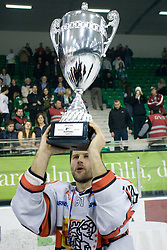 Jesenice's captain Tomo Hafner celebrates with a Trophy  at 6th Round of ice-hockey Slovenian National Championships match between HDD Tilia Olimpija and HK Acroni Jesenice, on April 2, 2010, Hala Tivoli, Ljubljana, Slovenia.  Acroni Jesenice won 3:2 after overtime and became Slovenian National Champion 2010. (Photo by Vid Ponikvar / Sportida)