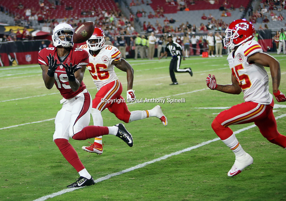 Arizona Cardinals wide receiver Travis Harvey (19) catches a fourth quarter pass for a first down inside the red zone while covered by Kansas City Chiefs cornerback Sanders Commings (26) and Kansas City Chiefs rookie cornerback Kenneth Penny (45) during the 2015 NFL preseason football game against the Kansas City Chiefs on Saturday, Aug. 15, 2015 in Glendale, Ariz. The Chiefs won the game 34-19. (©Paul Anthony Spinelli)