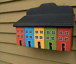 CANADA NEWFOUNDLAND ST JOHN'S 24JUN11 - A letterbox with painted colourful houses typical of Newfoundland's capital city St. John's, one of the oldest settlements in North America......jre/Photo by Jiri Rezac..© Jiri Rezac 2011