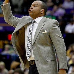 December 29, 2011; Baton Rouge, LA; Grambling State Tigers head coach Bobby Washington Jr. reacts from the bench during the first half of a game against the LSU Tigers at the Pete Maravich Assembly Center. LSU defeated Grambling State 69-37. Mandatory Credit: Derick E. Hingle-US PRESSWIRE