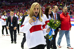 20.02.2014, Bolshoy Ice Dome, Adler, RUS, Sochi, 2014, Eishockey Damen, Medaillenfeier, im Bild Katrin Nabholz (SUI) mit der Bronze Medaille an der Medaillenfeier // during Womens Icehockey Medal Ceremony of the Olympic Winter Games Sochi 2014 at the Bolshoy Ice Dome in Adler, Russia on 2014/02/20. EXPA Pictures © 2014, PhotoCredit: EXPA/ Freshfocus/ Urs Lindt<br /> <br /> *****ATTENTION - for AUT, SLO, CRO, SRB, BIH, MAZ only*****