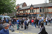 Juventus fans sing songs outside pub before the Champions League Final between Juventus and Real Madrid at the National Stadium of Wales, Cardiff, Wales on 3 June 2017. Photo by Phil Duncan.