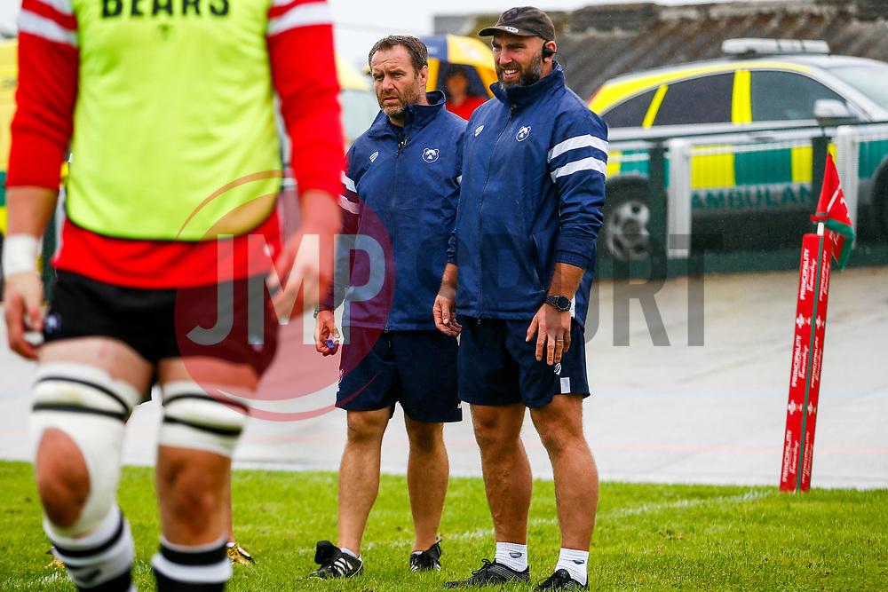 Mark Irish and John Muldoon during the warm up  - Mandatory by-line: Ryan Hiscott/JMP - 18/08/2018 - RUGBY - Carmarthen Park - Carmarthen, Wales - Scarlets v Bristol Bears - Pre-season friendly