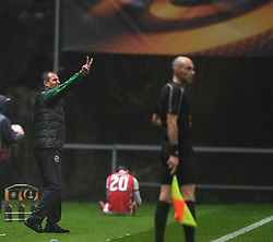 BRAGA, Oct. 20, 2017  Coach of Ludogorets, Dimitar Dimitrov reacts during the Europa League soccer match between SC Braga and PFC Ludogorets 1945 at the Braga Municipal Stadium in Braga, Portugal, on Oct. 19, 2017. (Credit Image: © Zhang Liyun/Xinhua via ZUMA Wire)