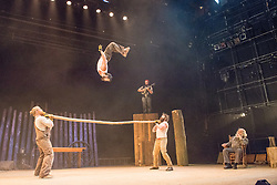 © Licensed to London News Pictures. 11/07/2013. It's the The UK debut of Cirque Alfonse with Timber! This is the UK premier and the first of Southbank Centre's two big summer shows for 2013.  The family: Alain Carabinier (66) his children Antoine Carabinier-Lépine (32 biggest beard!) and Julie Carabinier-Lépine (29), her son Arthur Casaubon (2), plus Jonathan Casaubon (33 other beard!), Arthur's father and Julie's partner Matias Salmenaho (26 ginger beard and dungarees!). Photo credit: Tony Nandi/LNP