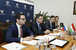 March 21, 2019 - Alexander Novak @novakav1 met with the Minister of foreign economic relations and foreign Affairs of Hungary Peter Siarto.  Ministry of Energy Russia via globallookpress.com (Credit Image: © Russian Look via ZUMA Wire)