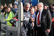 Manchester United Manager Jose Mourinho arrives off the club coach during the Premier League match between Brighton and Hove Albion and Manchester United at the American Express Community Stadium, Brighton and Hove, England on 4 May 2018. Picture by Phil Duncan.