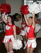 """Vodafone Cheerleaders in action during the launch of Sky 1's Reality Series """"The Cheerleaders"""" at the Northern Steamship Co. Auckland, Tueaday 20 March 2007. Photo: Andrew Cornaga/PHOTOSPORT<br /> <br /> <br /> 200307"""