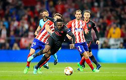 Arsenal's Danny Welbeck (centre) in action during the UEFA Europa League, Semi Final, Second Leg at Wanda Metropolitano, Madrid.