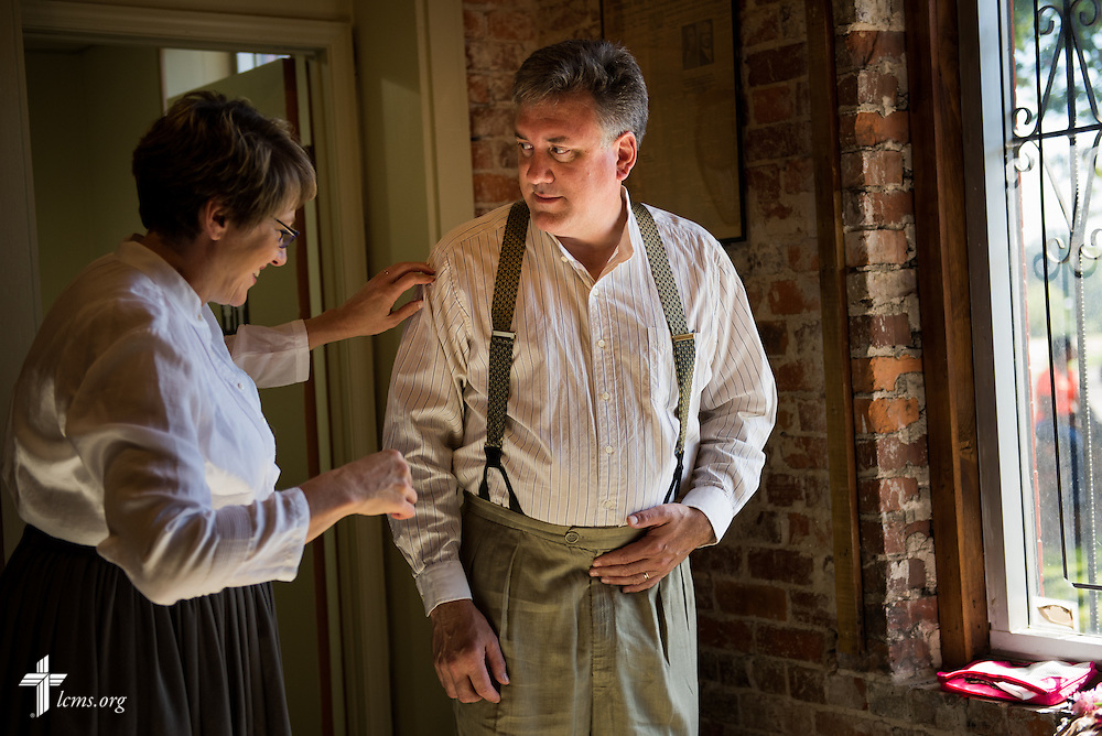 Kim and the Rev. Dr. Jon Vieker dress for the role of extras during filming of 'The First Rosa' documentary on Wednesday, Sept. 24, 2014, at the Old Depot Museum in Selma, Ala. LCMS Communications/Erik M. Lunsford