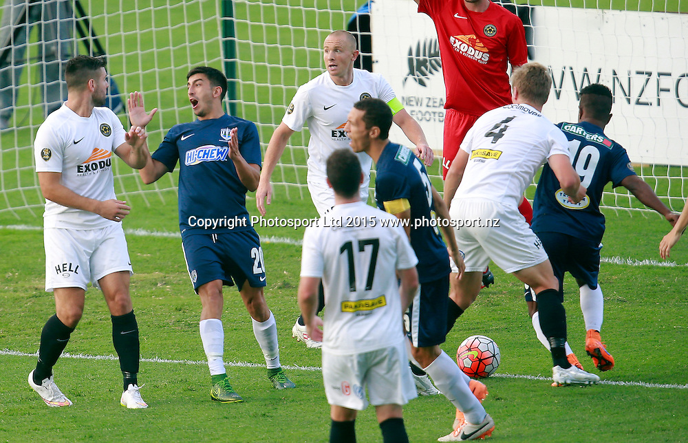 Auckland's Emiliano Tade reacts when the referee blows his whistle. ASB Premiership, Round Four, Auckland City FC v Team Wellington, QBE Stadium Auckland, Thursday 28th January 2016. Copyright Photo: Shane Wenzlick
