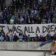 NEW YORK, NEW YORK - November 06:  A banner from New York City FC fans during their sides 5-0 loss during the NYCFC Vs Toronto FC MLS playoff game at Yankee Stadium on November 06, 2016 in New York City. (Photo by Tim Clayton/Corbis via Getty Images)