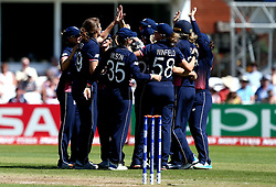 Natalie Sciver of England Women celebrates with teammates after taking the wicket of Chamari Athapaththu of of Sri Lanka Women - Mandatory by-line: Robbie Stephenson/JMP - 02/07/2017 - CRICKET - County Ground - Taunton, United Kingdom - England Women v Sri Lanka Women - ICC Women's World Cup Group Stage